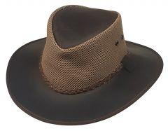 Modestone Leather Cowboy Hat Mesh Crown Brown
