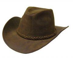 Modestone Unisex Leather Cowboy Hat Khaki