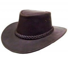 Modestone Unisex Leather Cowboy Hat brown