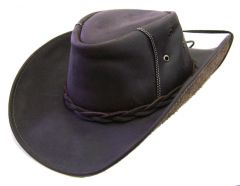 Modestone Men's Stitching On Crown Chinstring Leather Cowboy Hat L Brown