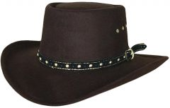 Modestone Kids Gambler Faux Felt Cowboy Hat Brown ''Sizes For Small Heads''