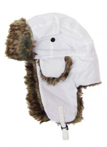Modestone Warm Trapper Bomber Hat Faux Fur Trim o/s White