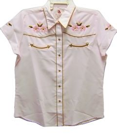 Modestone Women's Embroidered Short Sleeve Western Shirt Floral Embroidered Pink