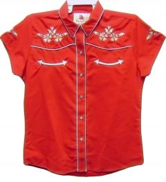Modestone Women's Embroidered Short Sleeved Shirt Floral Embroidered Red