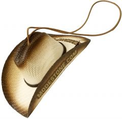 Modestone Branded Small Straw Pet Hat Elastic String Brown