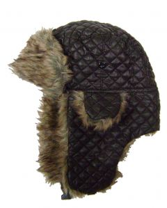 Modestone Quilted Warm Trapper Bomber Hat Faux Fur Trim o/s Brown