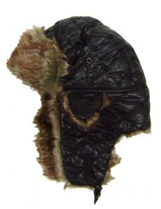 Modestone Quilted Warm Trapper Bomber Hat Red/Brown Faux Fur Trim o/s Black