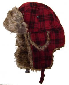 Modestone Plaid Warm Trapper Bomber Hat Faux Fur Trim o/s Red