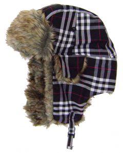 Modestone Plaid Warm Trapper Bomber Hat Faux Fur Trim o/s Black