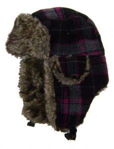 Modestone Plaid Warm Trapper Bomber Hat Faux Fur Trim o/s Black Fushia