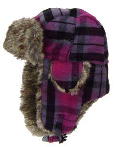 Modestone Plaid Warm Trapper Bomber Hat Faux Fur Trim o/s Purple Fushia