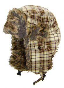 Modestone Plaid Warm Trapper Bomber Hat Faux Fur Trim o/s Beige