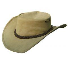 Modestone Unisex Crushable Jacaru Australian Leather Cowboy Hat M/L Taupe
