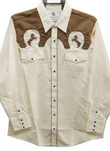 "Modestone Men's Embroidered Long Sleeved Shirt ""Super Suede"" Horses Beige"
