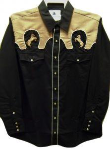 "Modestone Men's Embroidered Long Sleeved Shirt ""Super Suede"" Horses Black"