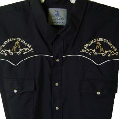 Modestone Men's Embroidered Long Sleeved Shirt Filigree Rearing Horses Black