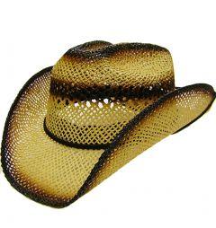 Modestone Boy's Straw Cowboy Hat Beige Black ''Sizes For Small Heads''