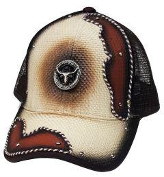 Modestone Western Snapback Ball Cap Metal Longhorn Bull Beige