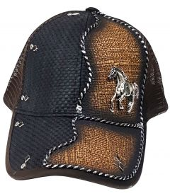 Modestone Western Snapback Ball Cap Metal Galloping Horse Black