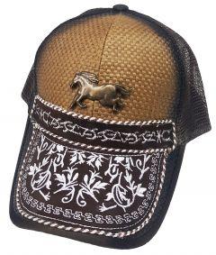 Modestone Western Snapback Ball Cap Metal Galloping Horse Embroidered Peak