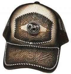 Modestone Western Snapback Ball Cap Metal Galloping Horse Embossed Floral Beige