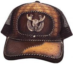 Modestone Western Snapback Ball Cap Metal Bull Skull Longhorn Horseshoe