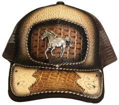 Modestone Western Snapback Ball Cap Metal Running Horse ''Faux Croc''