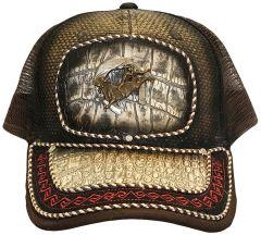 Modestone Western Snapback Ball Cap Metal Cowboy Bull Horseshoe ''Faux Croc''