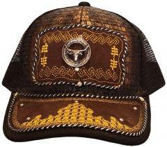 Modestone Western Snapback Ball Cap Metal Bull Head Longhorn Embroidered