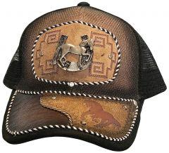Modestone Western Snapback Ball Cap Metal Horseshoe Horse ''Faux Suede''