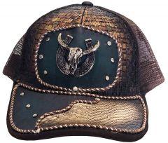 Modestone Western Snapback Ball Cap Metal Bull Horseshoe ''Faux Snakeskin''