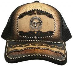 Modestone Western Snapback Ball Cap Metal Bull Head ''Faux Croc & Suede''