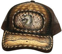 Modestone Western Snapback Ball Cap Metal Horseshoe Horse ''Faux Snakeskin''