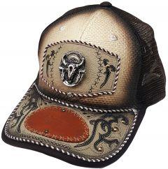 Modestone Western Snapback Ball Cap Metal Bull Skull Feathers ''Premium Caps''