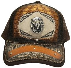 Modestone Western Snapback Ball Cap Metal Bull Skull ''Faux Suede'' Embroidered