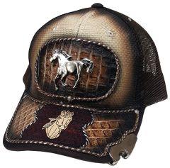 Modestone Western Snapback Ball Cap Metal Galloping Horse Bottle Cap Opener Brim
