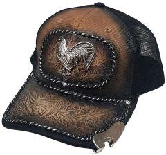 Modestone Western Snapback Ball Cap Rooster Gallo Bottle Cap Opener Brim