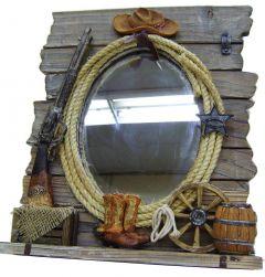 "Modestone 12"" x 14"" Decorative Barnwood Mirror Western Motifs"