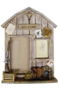 "Modestone 18 1/4"" x 13"" Decorative Barnwood Double Picture Frame Western Theme No Glass"