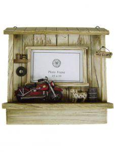 "Modestone 10 1/4"" x 10 1/4"" Decorative Barnwood Motorcycle Garage Picture Frame"
