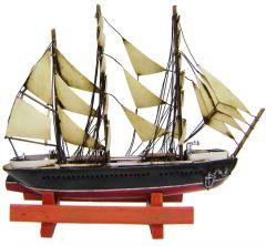 "Modestone 16"" X 14"" Antiqued Metal Decorative Sailboat & Wood Base"