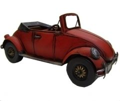 "Modestone 11 1/2"" Classic Red VW Beetle Bug Convertible Decorative Replica Metal"