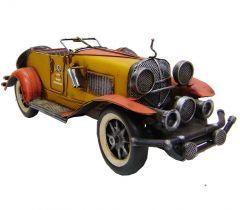 "Modestone 15 1/2"" Classic Roadster Antiqued Decorative Replica Metal Yellow"