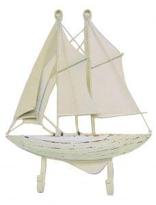 "Modestone 12"" X 9"" Metal Antiqued Decorative Sailboat Multi-Purpose 2X Hook Rack"