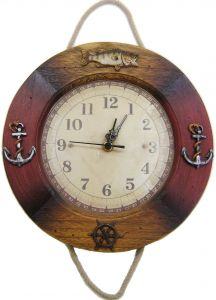 "Modestone 10"" Wood Decorative Boating Fishing Wall Clock"