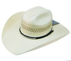 Modestone 100X Traditional Bangora Rodeo Straw Cowboy Hat 2-Tone White