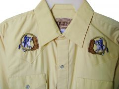 Modestone Men's Embroidered Long Sleeve Shirt Boot Cowboy Horse Rope M Yellow
