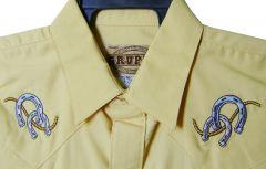 Modestone Men's Embroidered Long Sleeve Shirt Horseshoe Rope Yellow
