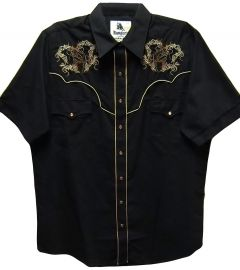 Modestone Men's Embroidered Short Sleeve Shirt Floral Filigree Horse Head Black