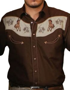 Modestone men's Embroidered Long Sleeved Shirt Horse Filigree Brown